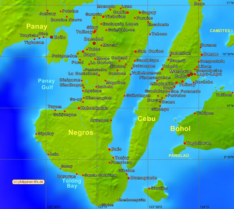 Map of Negros Philippines