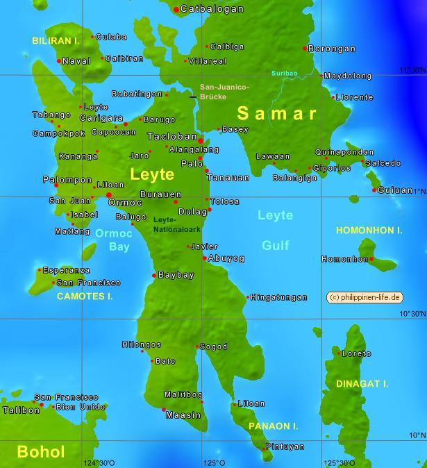 Karte Philippinen.Leyte Visayas Philippinen